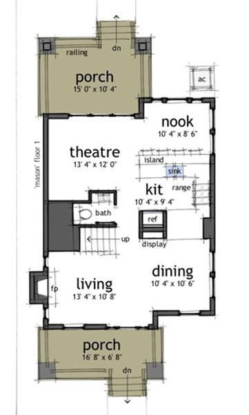 Baño Bajo Escalera Plano:Casa de 2 pisos, 3 habitaciones y 150 metros cuadrados Planos de Casas