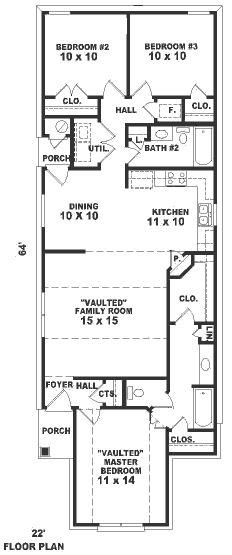 plano casa de 1 piso y 3 habitacioens
