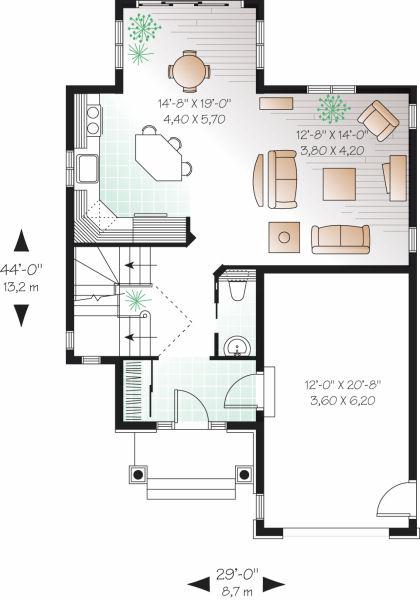 Planos de casas 2 recamaras 1 planta for Planos de casas 1 planta