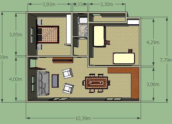Casa de campo de un piso y dos habitaciones planos de for Modelo de casa x dentro