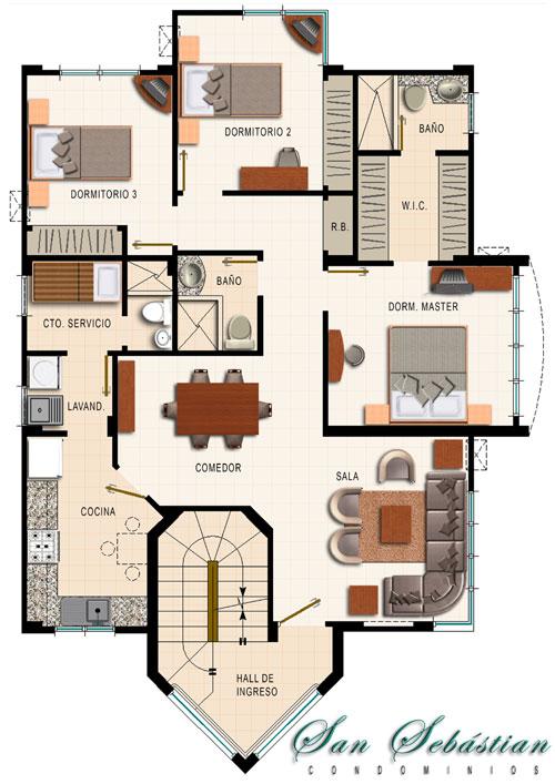Departamento de 4 dormitorios planos de casas gratis for Plano departamento 2 dormitorios