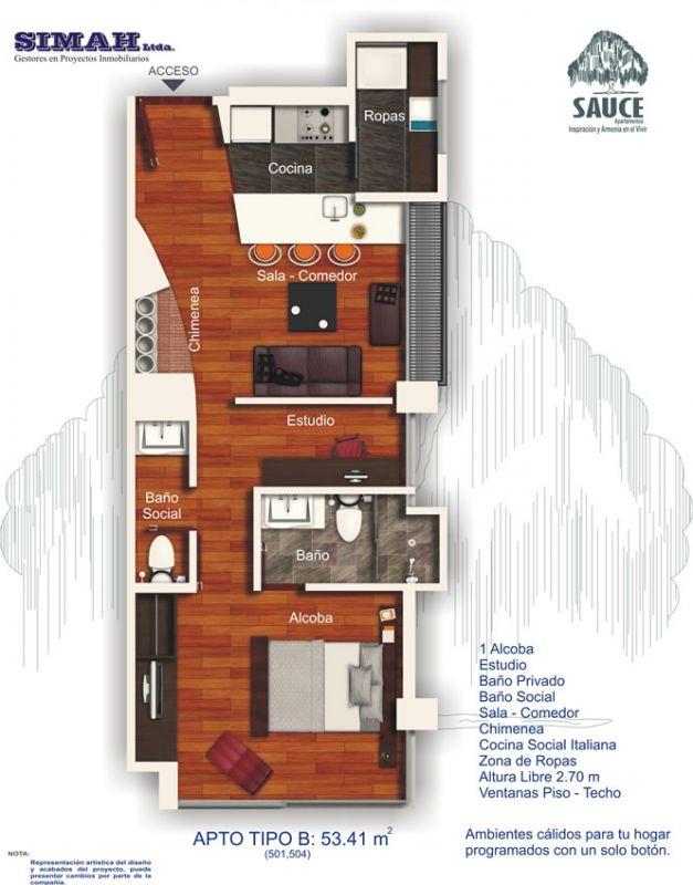 Departamento de un dormitorio y 53 metros cuadrados planos for Dormitorio 15 metros cuadrados