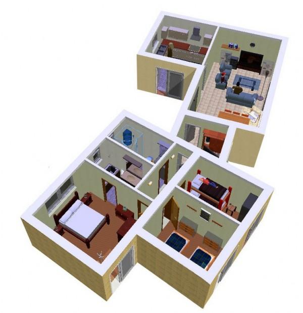 Casa de 3 dormitorios y 90 metros cuadrados planos de for Plano casa minimalista 3 dormitorios