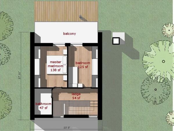 Moderna casa de dos pisos dos dormitorios y 66 metros for Dormitorio 15 metros cuadrados