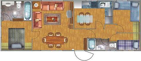 Casa prefabricada de tres dormitorios y 53 metros for Piso 60 metros cuadrados 3 habitaciones