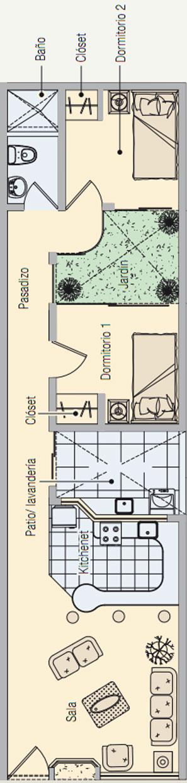 Casa de dos dormitorios y 60 metros cuadrados para terreno for Casas alargadas distribucion