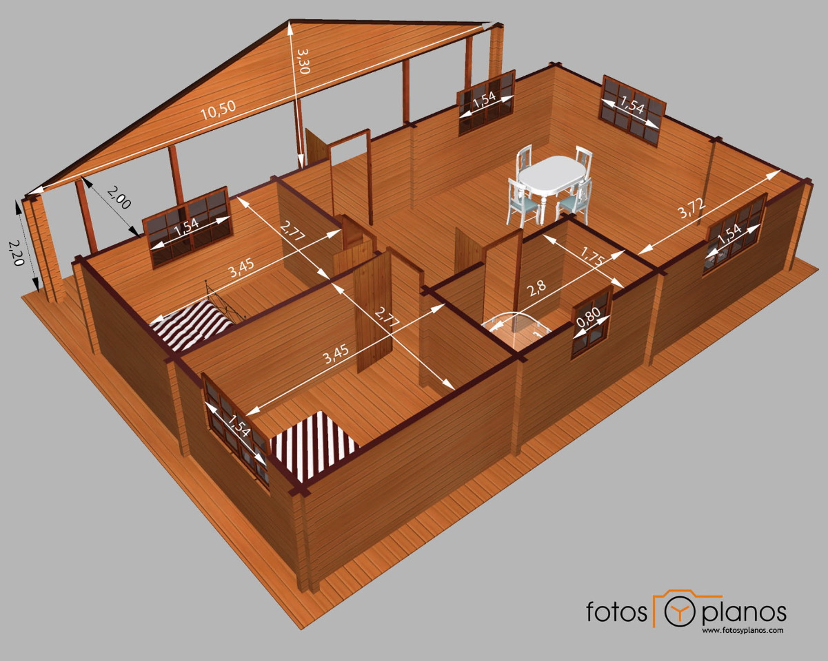 Casa de madera de dos dormitorios en 3d planos de casas gratis deplanos com - Planos de casa en 3d ...