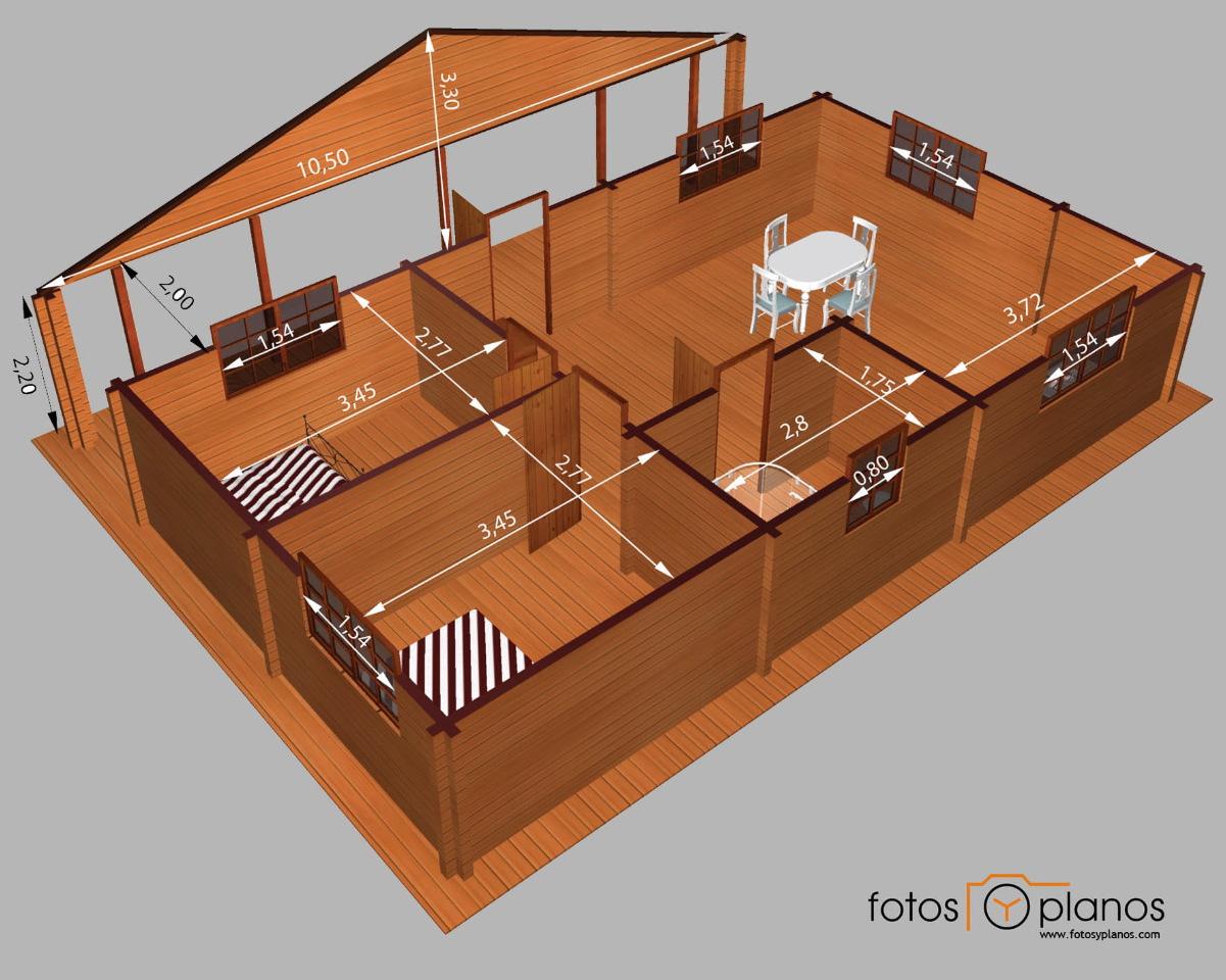 Casa de madera de dos dormitorios en 3d planos de casas for Planos de casas rusticas gratis
