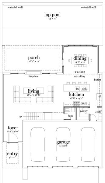 Baño Bajo Escalera Plano:Casa moderna de dos pisos, cuatro dormitorios y 279 metros cuadrados