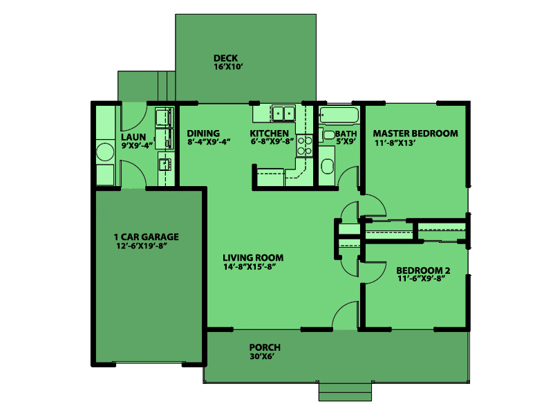 Casa de una planta dos dormitorios y 76 metros cuadrados for Cocina 18 metros cuadrados