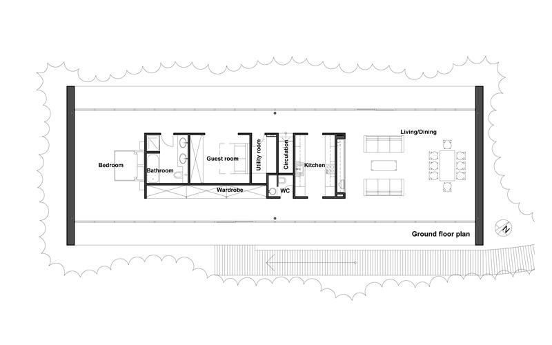 Moderna casa de campo de 2 dormitorios y 158 metros for Plano casa moderna 5 dormitorios