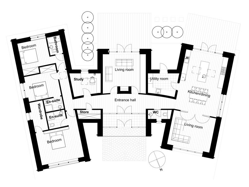 casa moderna de tres dormitorios y metros cuadrados planos de casas gratis deplanoscom