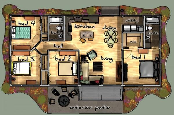 planos de casas de 4 habitaciones