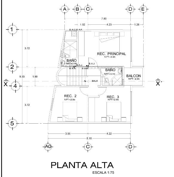 Construccion De Baño En Planta Alta:de dos plantas, cuatro dormitorios y 180 metros cuadrados – Planos de