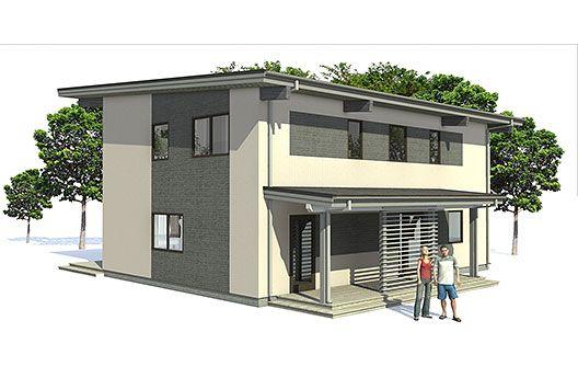 Moderna casa de 2 pisos y 138 metros cuadrados planos de for Planos de oficinas modernas