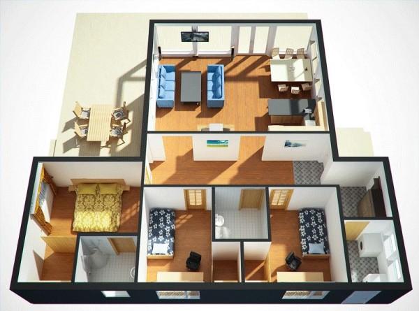 Casa en 3d de tres dormitorios y un piso planos de casas for Programa para distribuir una casa