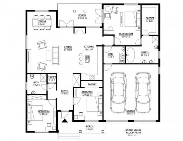 Plano de moderna casa de una planta y 158 metros cuadrados for Plano de casa quinta moderna