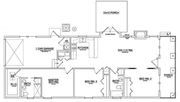 Peque a y confortable casa de una planta tres dormitorios for Planos arquitectonicos de casa habitacion