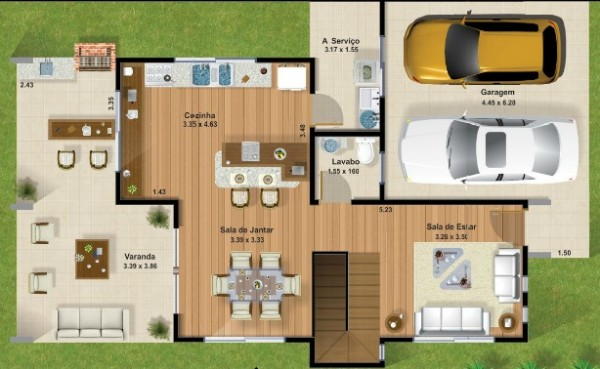 Casa moderna de ciudad de dos plantas tres dormitorios y for Dormitorio 12 metros cuadrados