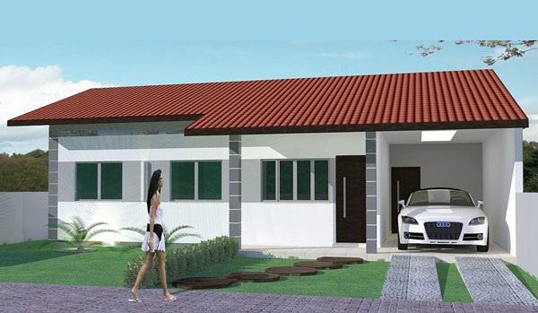 Bella casa de un piso tres dormitorios y 102 metros for Modelo de casa con garaje
