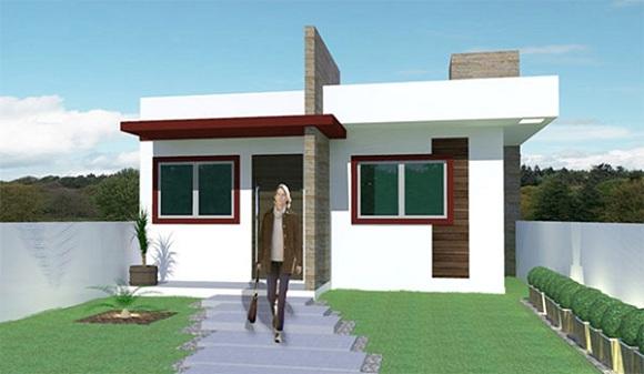 Pequeña casa moderna de una planta, dos dormitorios y 53 metros cuadrados