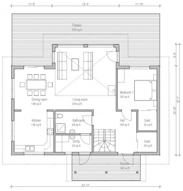 Casa moderna de 2 plantas 4 dormitorios y 170 metros for Dormitorio 15 metros cuadrados
