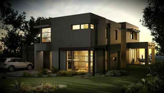 Casa moderna grande de dos plantas cuatro dormitorios y for Casas modernas 80 metros cuadrados