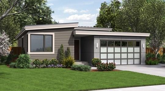Moderna y sencilla casa de una planta, tres dormitorios y 150 metros cuadrados