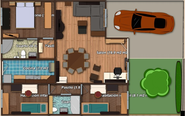 Plano propio en 3d de casa de una planta tres dormitorios for Planos 3d online gratis