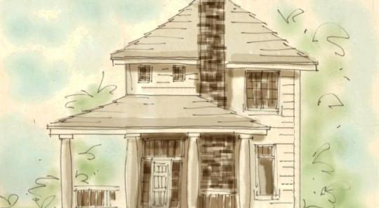 Plano dibujado a mano de casa de dos plantas, tres dormitorios y 135 metros cuadrados