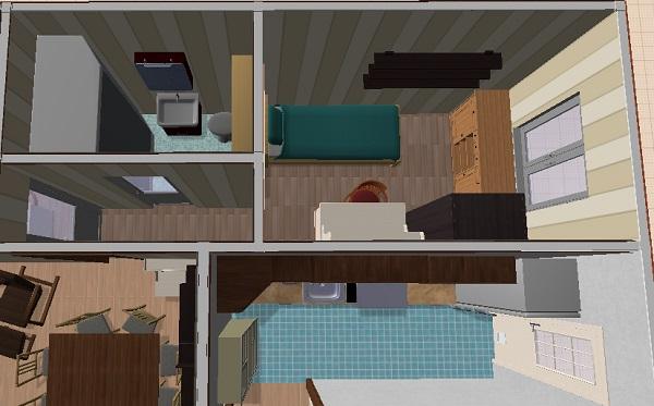 Plano propio en 3d de casa de una planta tres dormitorios for Planos de cocinas 3d
