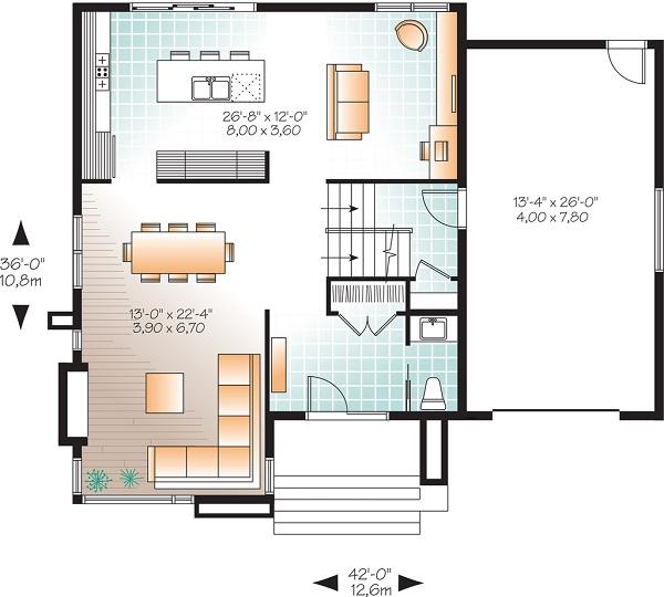 Moderna casa de dos pisos tres habitaciones y 172 metros for Planos de casas de dos plantas modernas