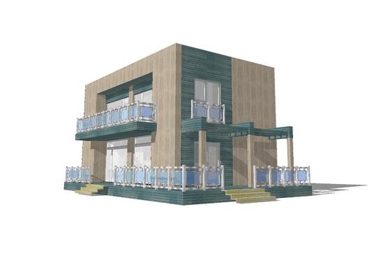Plano de casa moderna de dos pisos dos dormitorios y 120 for Como hacer una piscina en un segundo piso