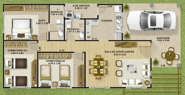 Plano de casa economica de tres dormitorios y 111 metros for Casa de diseno economica