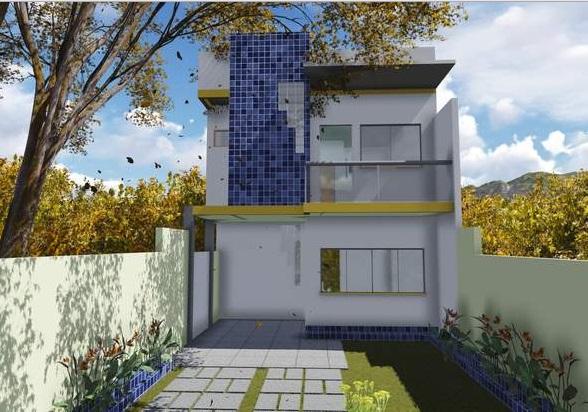 Plano de casa angosta de dos pisos, tres dormitorios y 75 metros cuadrados