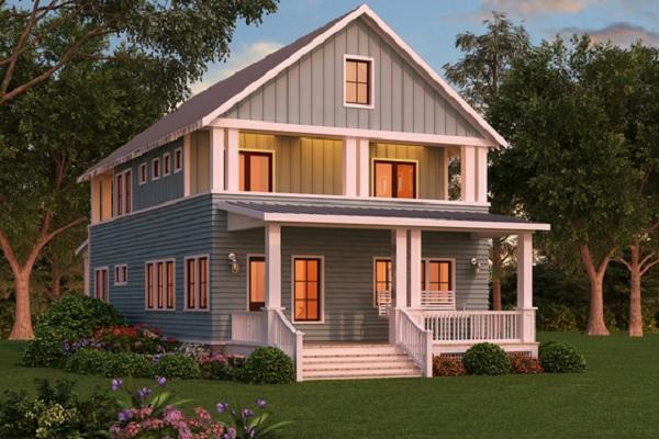 Plano de interesante casa grande de dos pisos y tres for Planta de casa de dos pisos
