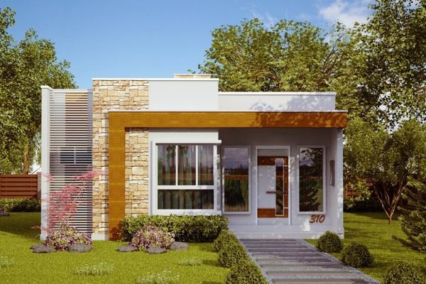 Plano de casa moderna economica de 3 dormitorios y 70 for Casa moderna 3 habitaciones