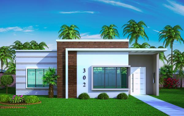 Plano de casa peque a y moderna de tres dormitorios y 67 for Diseno de casa de 120 metros cuadrados