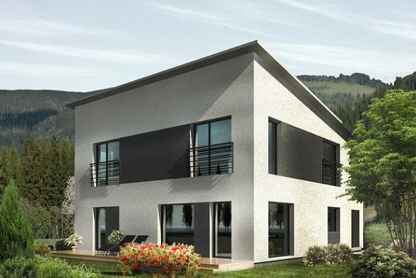 plano de casa moderna de dos plantas y cuatro dormitorios