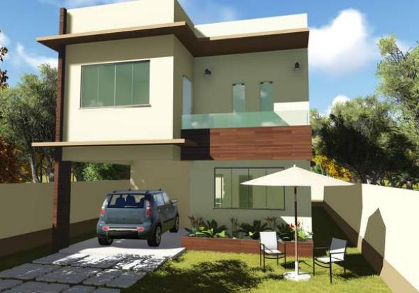Plano de casa con tres suites en dos plantas y 154 metros cuadrados