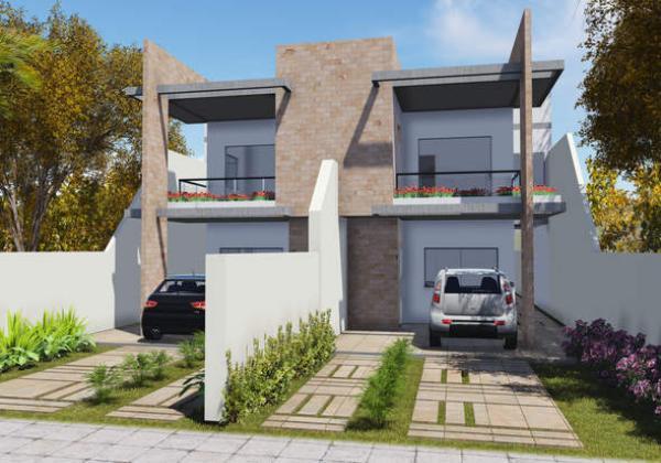 Plano de duplex angosto de tres dormitorios y 148 metros cuadrados