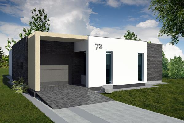 Plano de casa moderna de un piso tres dormitorios y 176 for Casa moderna 3 habitaciones