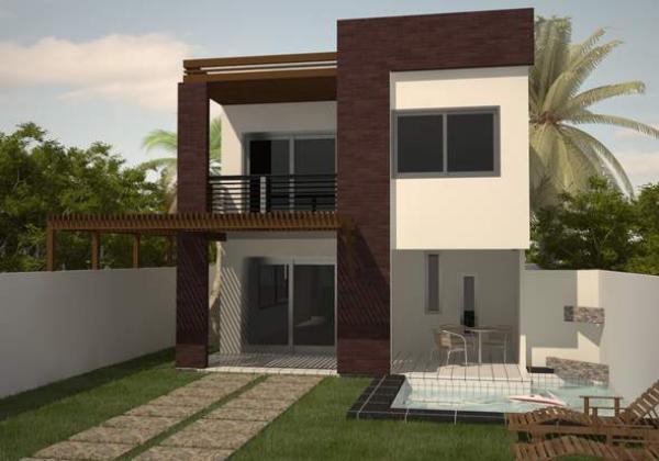 Plano de casa moderna de dos plantas, tres dormitorios y 156 metros cuadrados