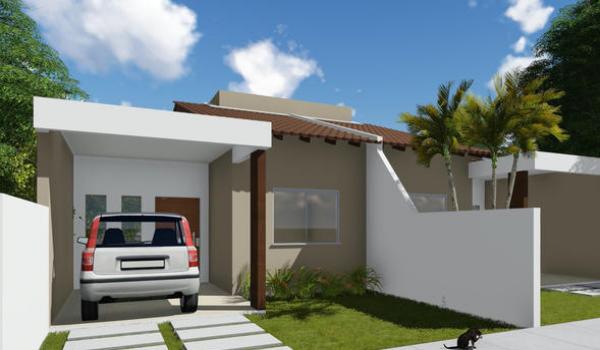 Plano econ mico de casa de una planta dos dormitorios y for Casa de dos plantas construyehogar