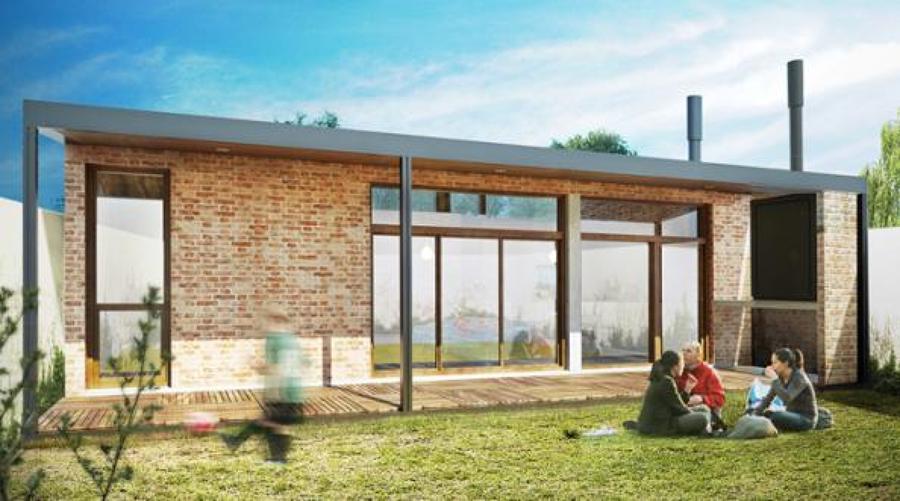 Plano de casa bicentenaria de tres dormitorios y 82 metros for Modelos viviendas procrear