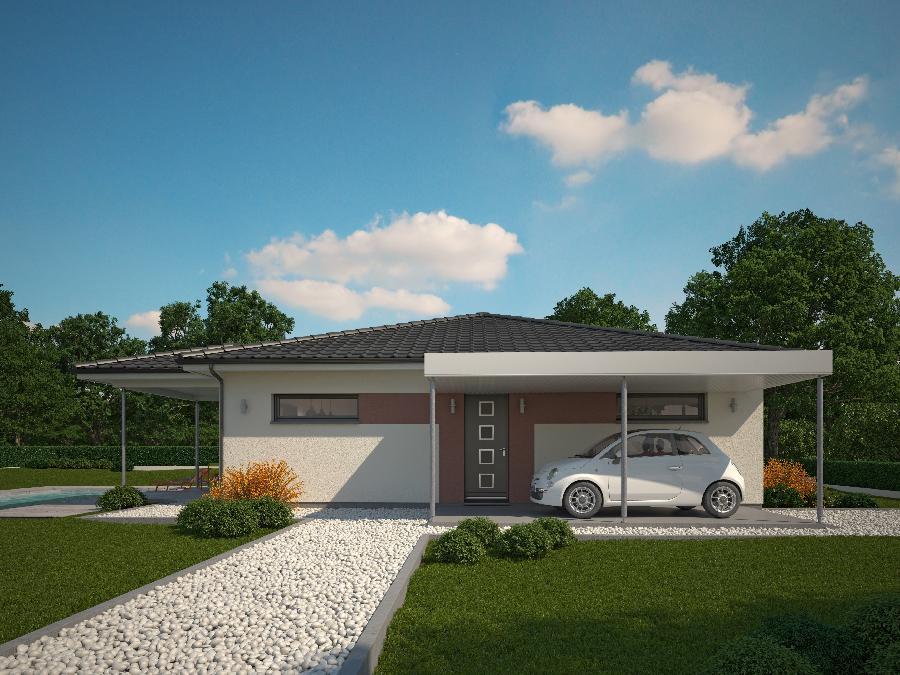 Fantastico plano en 3d de casa de una planta y tres for Plano casa minimalista 1 planta