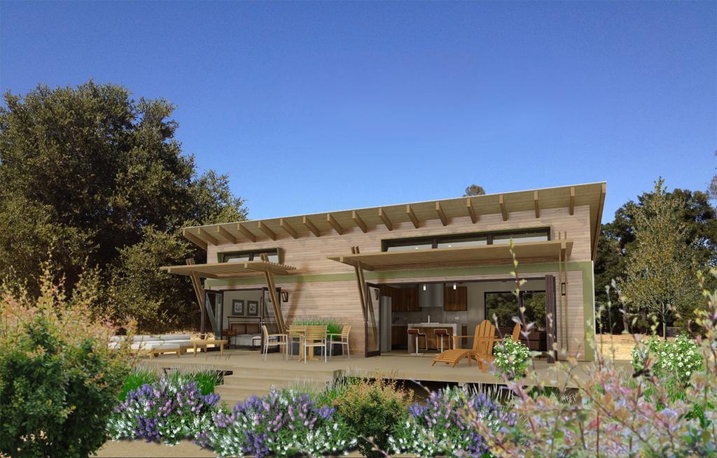 Plano en 3d de casa moderna de 1 dormitorio y 45 metros for Casa moderna 50 metros cuadrados